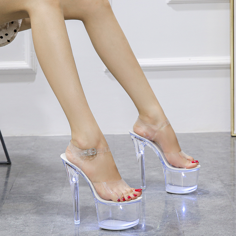 Large Size Sandals Clear Heel Light