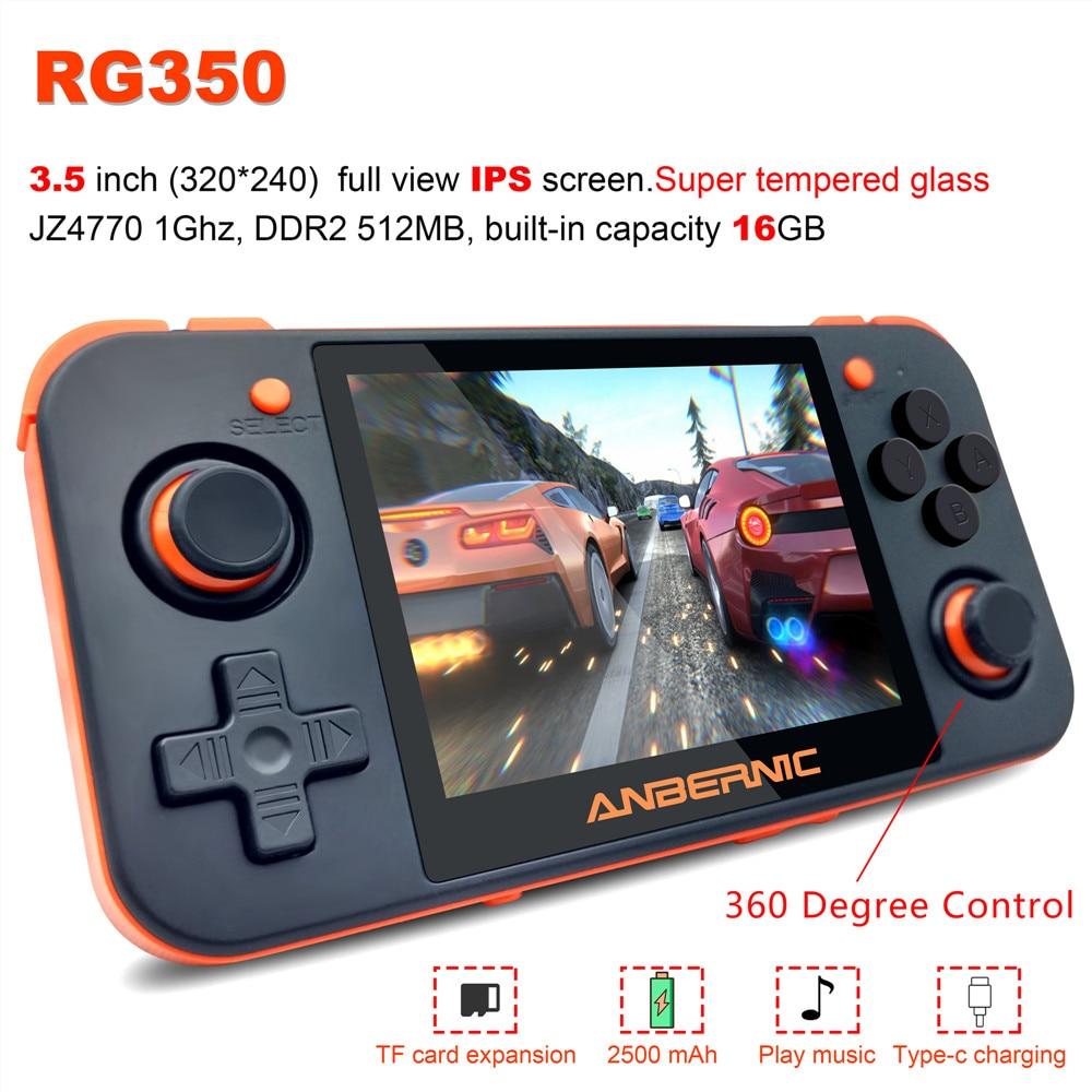 RG350 rétro Console de jeu portable 3.5 pouces vue complète IPS écran 3000 + jeux ps1 jeu 64bit opendingux 16 émulateurs joueur de jeu