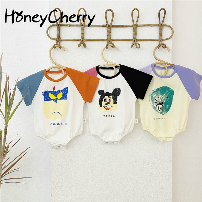 Summer Infant Baby Bodysuit Printing Spell Color Cartoon Skin-friendly Short-sleeved Climbing Clothing Siamese Bodysuit