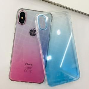 Image 5 - Vidro temperado De Metal Gradiente Colorido Transparente Rígido Caso Telefone Fino para iPhone XS Max XR X 10 8 7 6 6s Plus Voltar Abranger Os Casos