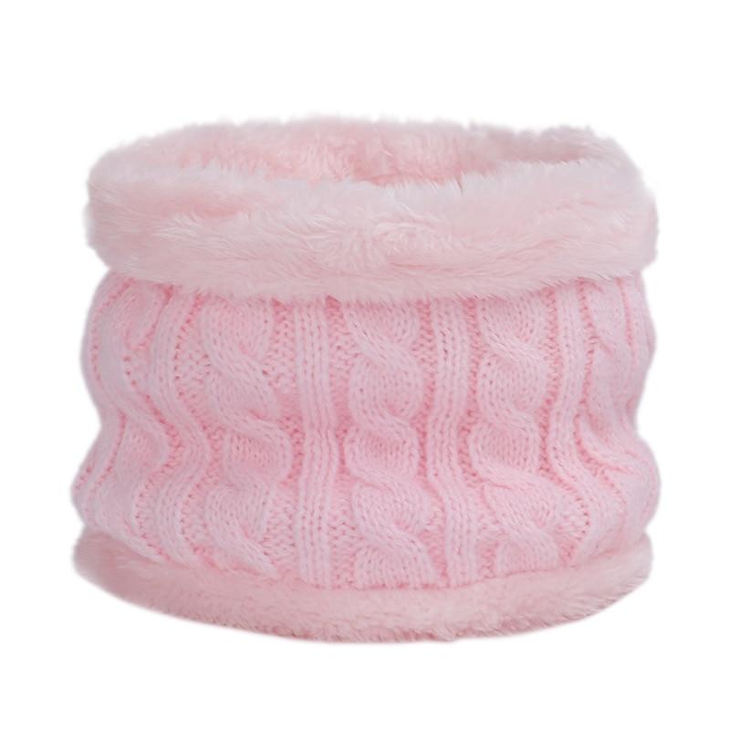 Круглый зимний шарф, детские милые вязаные шарфы, детские вязаные толстые бархатные кольца, мягкий теплый шейный платок для малышей из хлопка - Цвет: Light pink