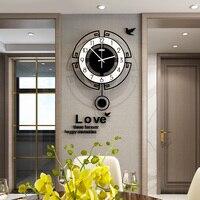 Swingable Acrylic Quartz Silent Wall Clock Modern Design 3D Digital Watch Pendulum Clocks Living Room Home Decor Free Shining