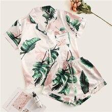 цена на 2020 New product Tropical Print Satin Pajama Set Casual Sleep Wear Shorts Sets Short Sleeve Pocket Women Summer Pajama Set