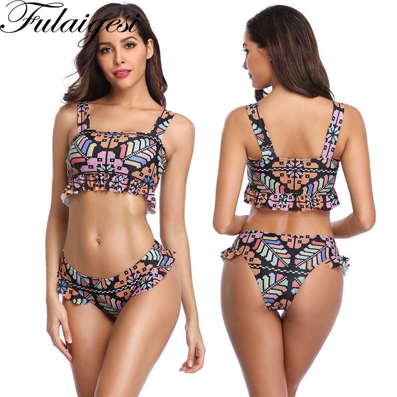 Bonito conjunto de Bikini con volantes de encaje dos piezas traje de baño Push Up acolchado Bikini traje de baño deportivo Tankini conjunto de natación Bodysuit