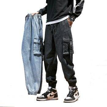 Men Joggers Cargo Denim Pants Baggy Harem Japanese Streetwear Styke Male Ankle Harajuku Casual Hip Hop Jeans Trousers Men