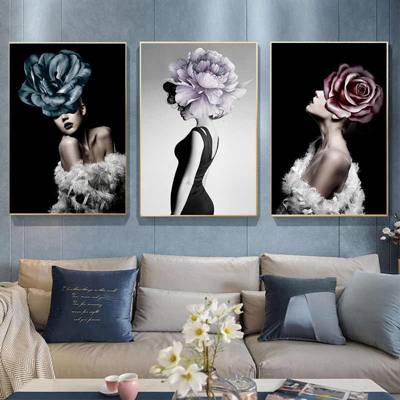 Nordic Nude Naked Women Feather Figure Canvas Painting Sexy Girls Flower Abstract Poster Wall Art Pictures for Living Room Decor