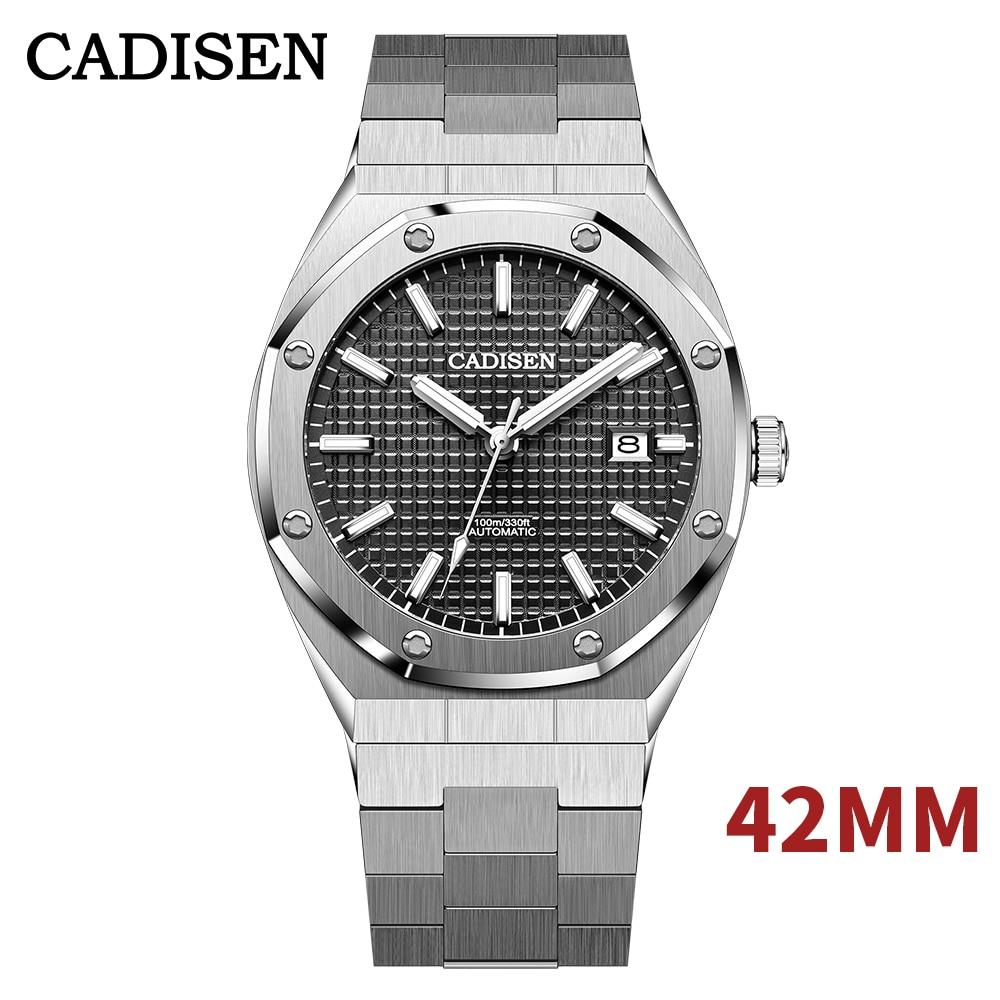 Часы наручные CADISEN Мужские механические, с автоподзаводом, водонепроницаемые до 100 м, 42 мм
