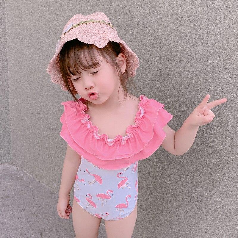 2019 Korean-style GIRL'S Swimsuit One-piece Cute CHILDREN'S Swimwear Printed Small Children Baby Princess Dress-Swimwear