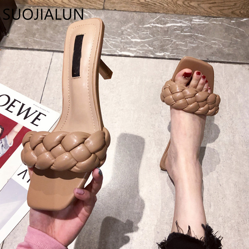 SUOJIALUN Summer New Design Weave Women Slipper Square Toe High Quality Leather Gladiator Sandals Ladies Outdoor Dress Slides