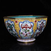 Antique decoration red copper enamel colored dragon bowl