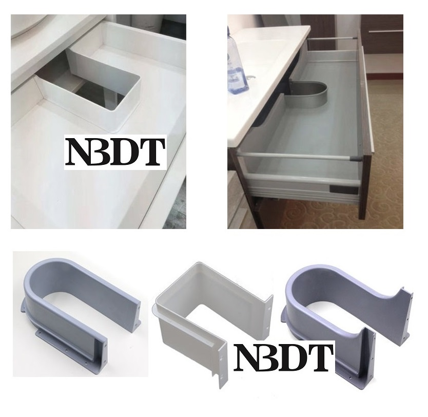 Plastic U Shape Under Sink Basin Drain Pipe Bath Cabinet Drawer Pull Out Bottotm Cutout Cover Recessed U Drainage Grommet