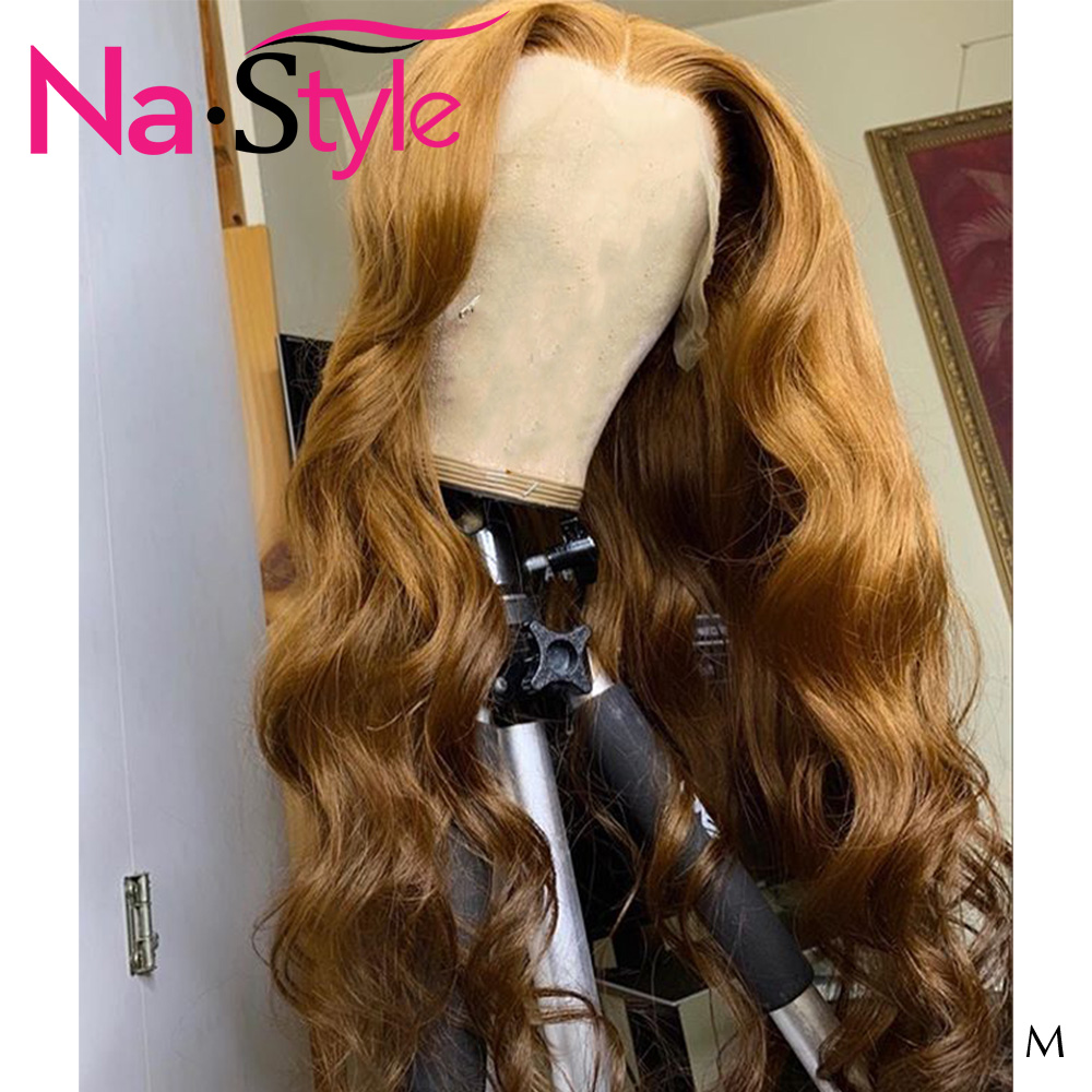 Ombre Blonde Lace Front Wig Human Hair Honey Brown Color Body Wave 13x6 Lace Front Wig Pre Plucked Glueless Wigs For Black Women