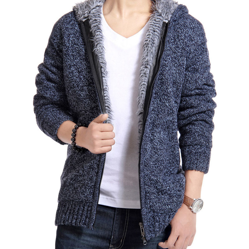 Winter Man Sweater Casual Mens Cardigan British Thick Fur Lining Warm Fleece Sweaters 0uterwear Brand New Male Hooded Sweaters