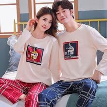 Jimiko Autumn Cotton Long Sleeve Couple Pajamas Set Cartoon Print Home Clothing Men Women Round Neck Casual sleepwear