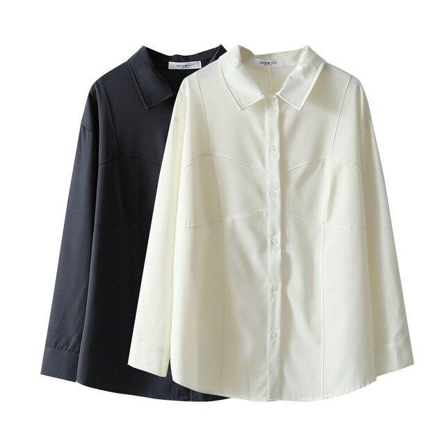 White Shirts Women Retro Oversized Tops Blouses Harajuku Long-Sleeve Chic Lapel Loose Shirt Women's Autumn Blouses Blusas Mujer 4