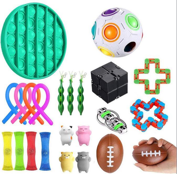 Jouets Anti-Stress Sensoriel, cordes magnétiques extensibles, boule collante, anneaux sensoriels, petits pois, à presser, animaux