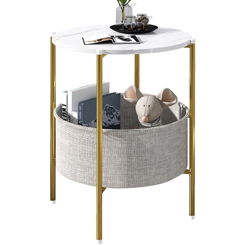 Multifunctional simple sofa tea table small round table light luxury storage bedside table