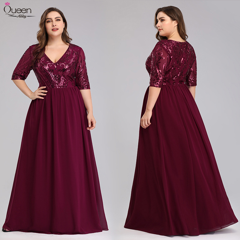 Dress Burgundy Farsali Plus-Size Robe-De-Soiree Lace Party Elegant A-Line Sequined  title=