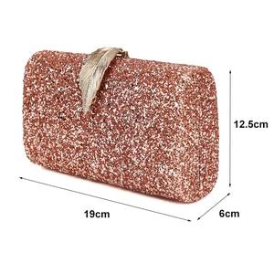 Image 2 - Women Clutch Bags Day Clutches Pink Gold Purse for Wedding Crossbody Bags for Women 2019 Metal Leaf Lock Female Handbag ZD1076
