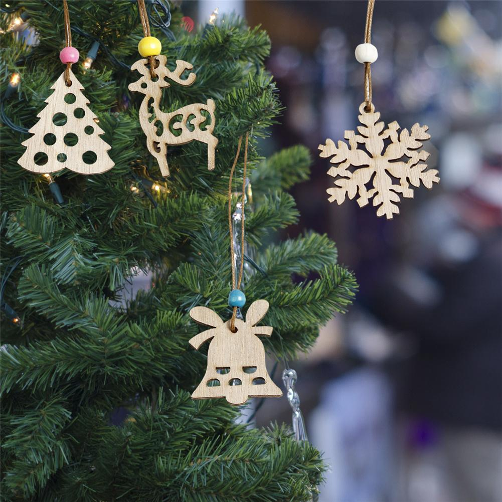 Wooden Christmas Tree Bell Hanging Decor Christmas Decoration Inventory Clearance in Pendant Drop Ornaments from Home Garden