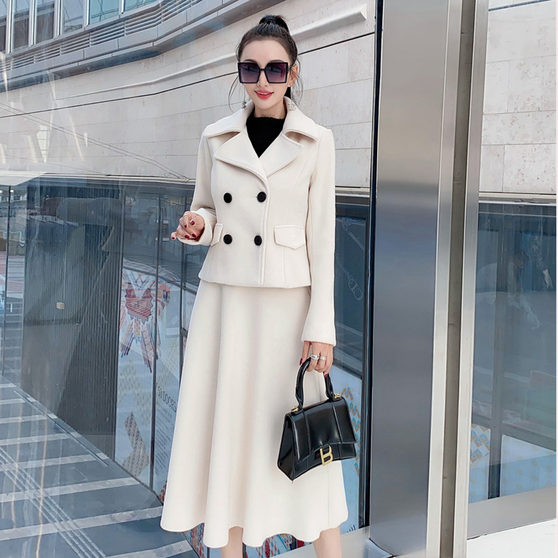 French women's double breasted jacket + Half skirt two piece suit