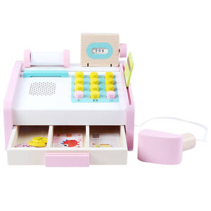 1 Set Cash Register Toy Wooden Baby Role Play Toy Simulation Cash Register Pretend Shopping Set for Boys Girls Children