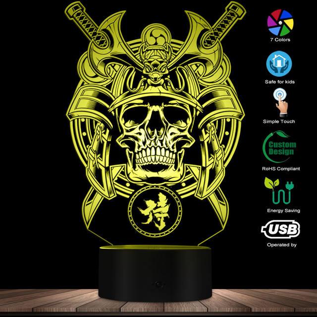 SAMURAI WARRIOR SKULL 3D LED LAMP
