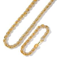 Hip Hop Men Gold Ice Out Cuban Necklace Men Necklace+Braclete Combo Set Gold Hip Hop Necklace with Diamonds