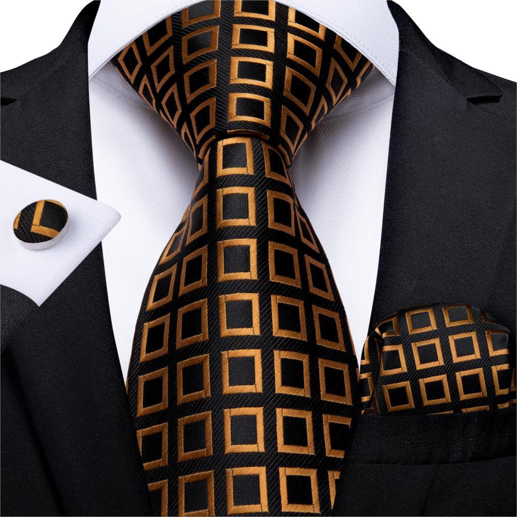 Fashion Men Tie Gold Black Plaid Silk Wedding Tie For Men Hanky Cufflink Gift Tie Set DiBanGu Novelty Design Business MJ-7303