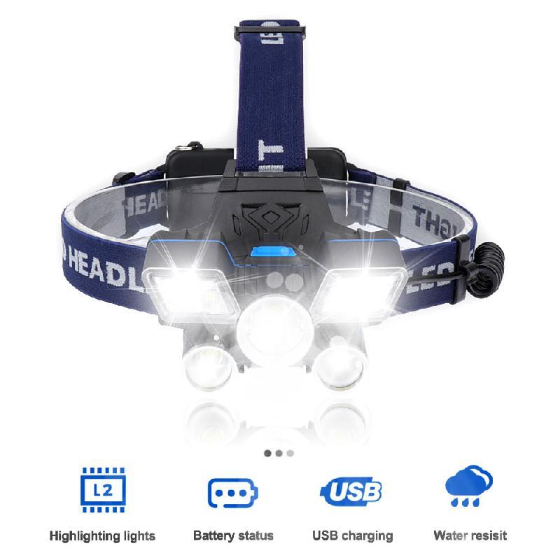 Spor ve Eğlence'ten Dış Mekan Aletleri'de Açık güçlü far LED far 9 modları çalışma far USB şarj edilebilir su geçirmez far el feneri açık kamp için title=
