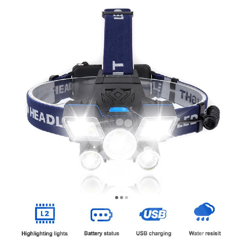 Outdoor Strong Headlight LED Headlamp 9 Modes Work Headlamp USB Rechargeable Waterproof Headlight Flashlight For Outdoor Camping