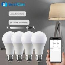 BroadLink Lámpara de luz inteligente BestCon LB1, bombilla LED regulable, 220v, E27, Control remoto inalámbrico por voz, con Google Home, Alexa