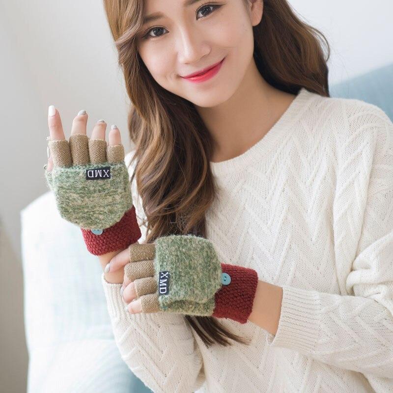 Fashion Winter Gloves Women New Half Finger Fingerless Gloves Multifunctional Cute Warm Patchwork Mittens For Female Laides Luva