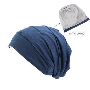 Image 5 - Kobiety miękka pościel satynowa indie kapelusz Stretch czapka do spania muzułmańskie nakrycie głowy z marszczeniami rak kapelusz po chemioterapii czapka szalik Turban chusta na głowę czapka Arab