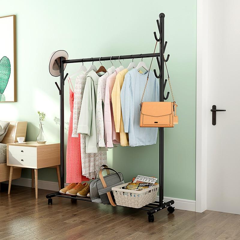 Floor Coat Rack Portable Power Clothes Rack Bedroom Clothes Hanger Simple Indoor Household Clothes Rack Wind-Resistant Creative