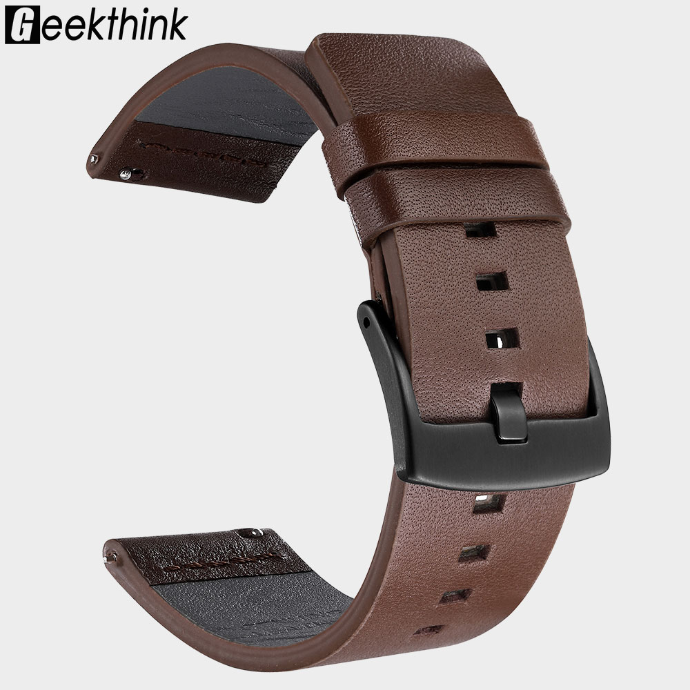 20mm 22mm Leather Watch Band Strap For Samsung Galaxy Watch Active2 42 46mm Gear S3 WatchBand Quick Release 18mm 24mm