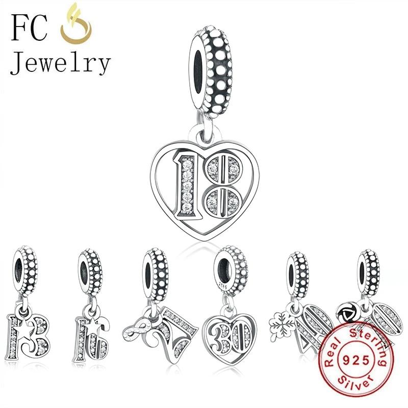 Fc Jewelry Fit Original Pandora Charm Bracelet 925 Silver 13th 18th 21th 50th 60th 70th Bead Making Women Birthday Berloque 2020 Beads Aliexpress