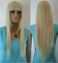 Jewelry Wig Light Blonde Straight bangs Long Women Ladies Daily Full Synthetic Wig LAHE004 Free Shipping(China)