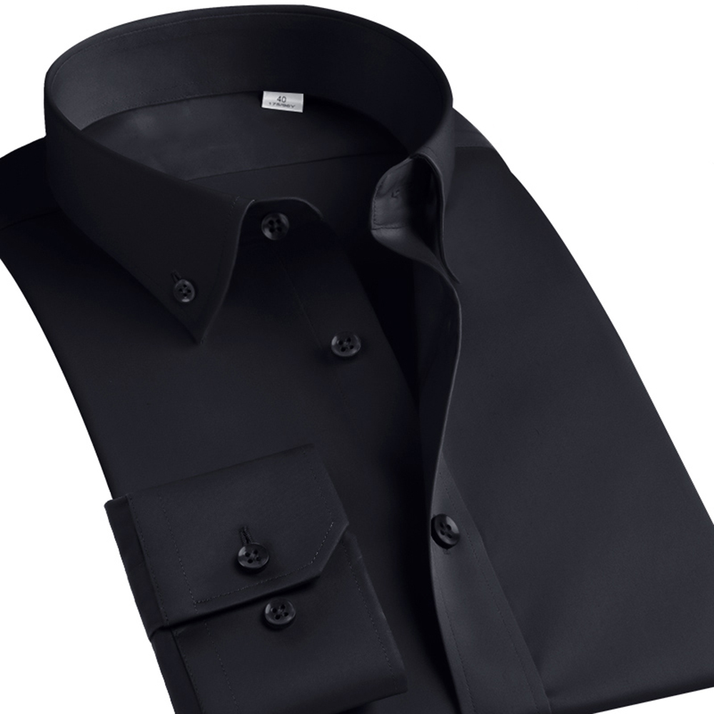 Casual Diamond Buttons Men's Dress Shirt Long Sleeve Black Luxury Business Silk Slim Fit High Collar Stage Western Blouse 6