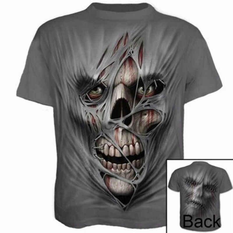 Camisetas de moda para hombre de manga corta cuello redondo divertido cráneo Halloween 3D estampado camiseta Casual Tops Tee