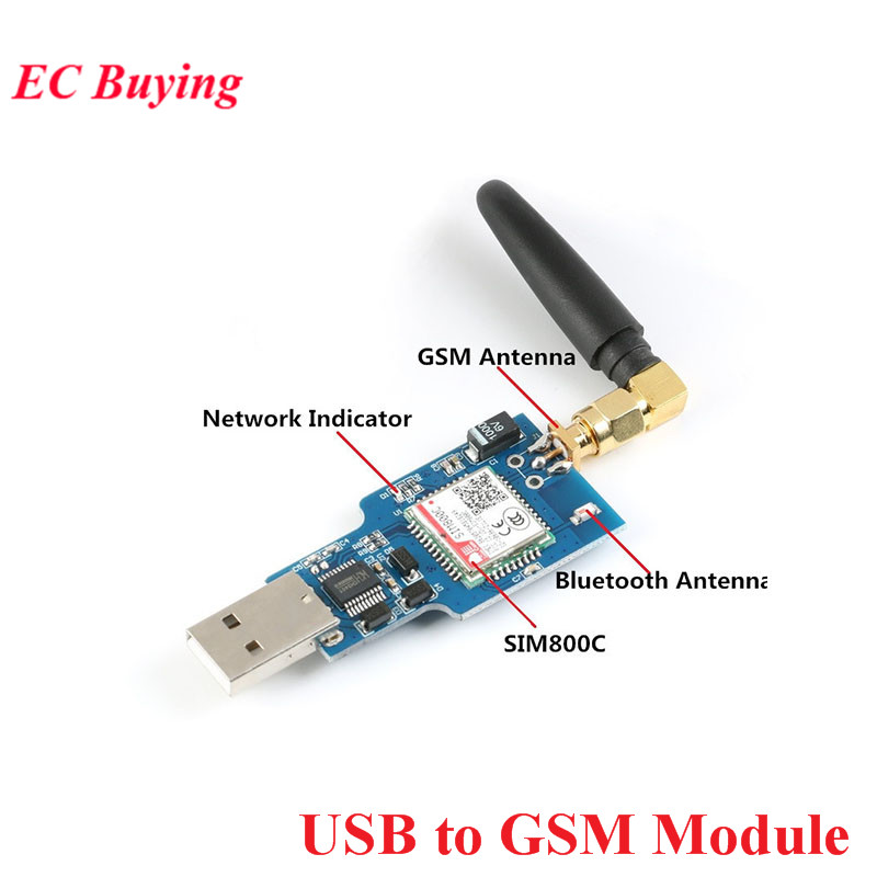 USB To GSM Module Quad-band GSM GPRS SIM800C SIM800 Module For Wireless Bluetooth Module SMS Messaging With Antenna