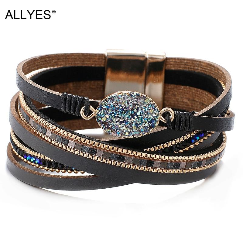 Женские кожаные браслеты ALLYES с подвесками из искусственных камней