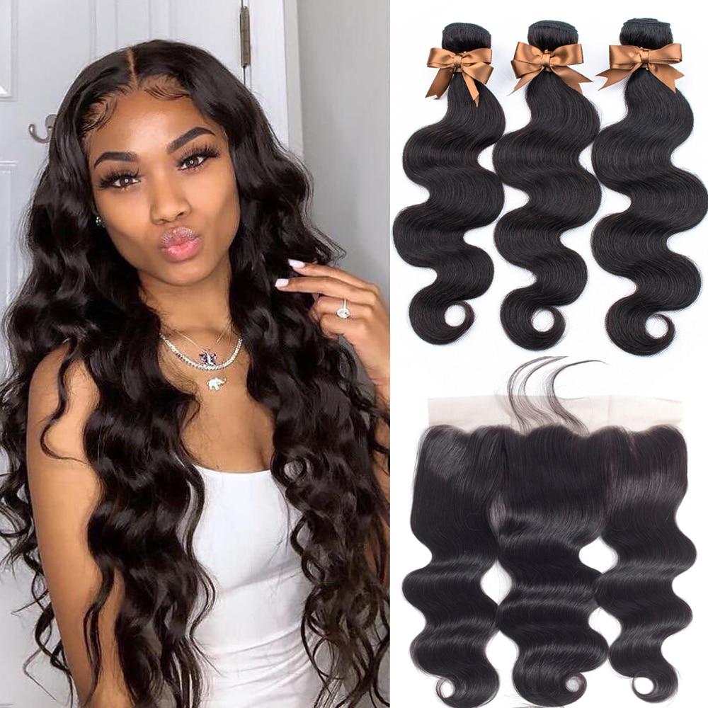 Brazilian Hair Weave Bundles With Frontal Beaudiva Hair Brazilian Body Wave Human Hair Bundles With Lace Innrech Market.com