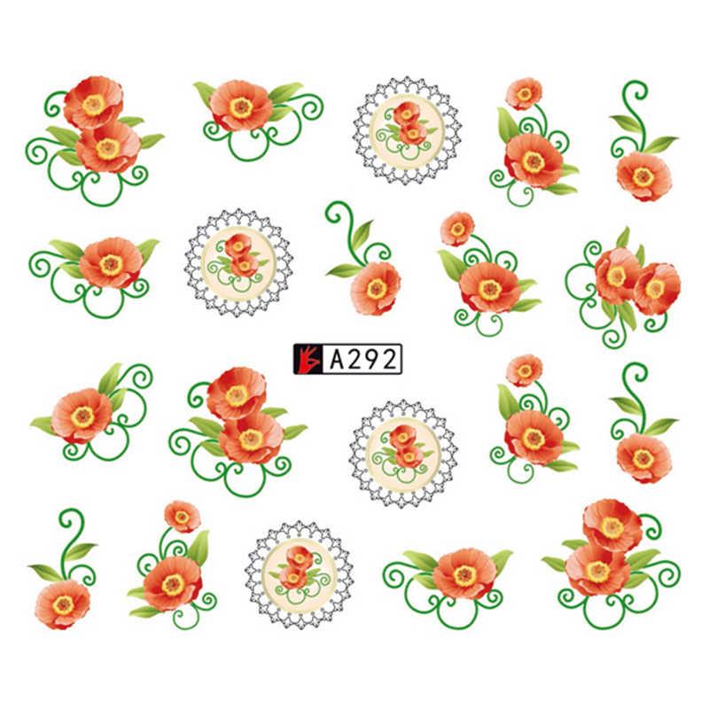 GAM-BELLE 1 Buah Bunga Slider Air Stiker Decal untuk Kuku Seni Transfer Tato Huruf Daun Gel Manicure Perekat dekorasi Tip