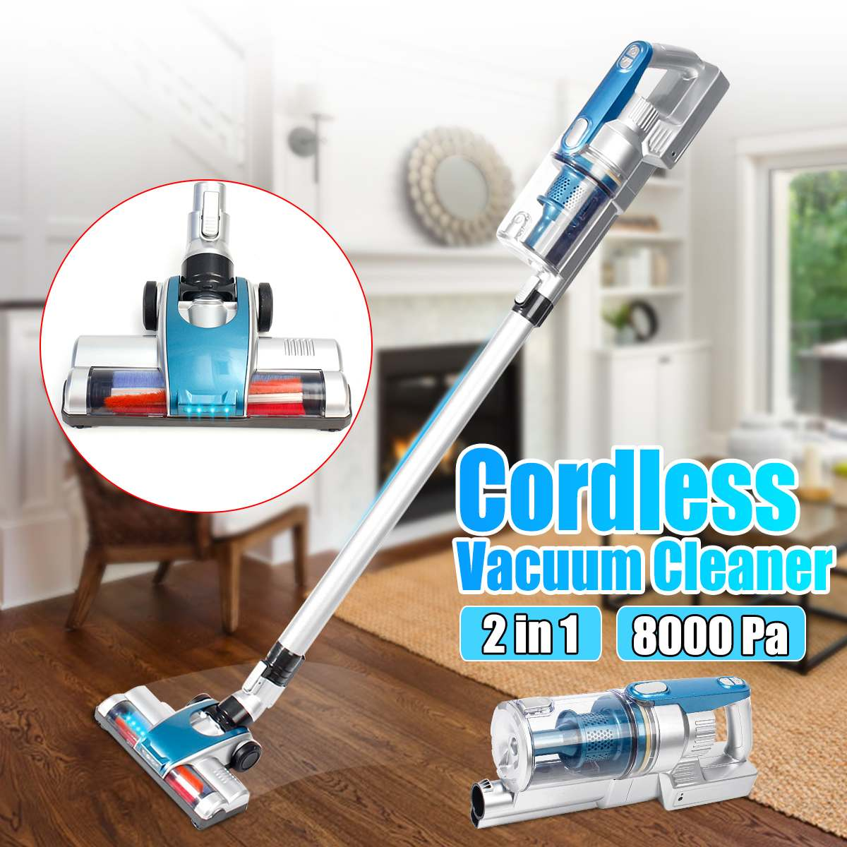 120W Protable 2 In 1 Lightweigh Handheld Wireless Vacuum Cleaner Cyclone Filter Strong Suction Dust Collector Handheld vacuum