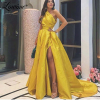 Gold Evening Dress Custom Dubai Robe de Soiree Formal One Shoulder Long Prom Dresses 2020 Arabic Celebrity Party Gowns Vestidos