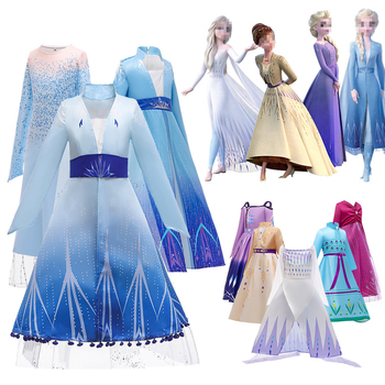 2020 Anna Elsa Princess Dress Summer Dress For Girls Frozen 2 Cosplay Clothes Kids Dresses For Girls Costume Ceremonies Vestidos baby girls dress christmas anna elsa cosplay costume summer dresses girl princess elsa dress for birthday party vestidos menina