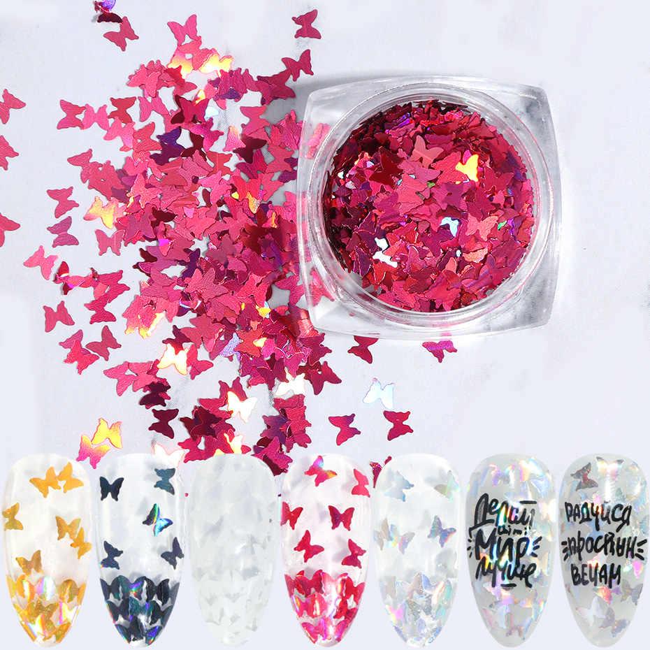 1 Box Butterfly Hologram Kuku Payet Glitter Putih Serpih Kuku Seni Dekorasi Chrome Irisan Tipis Bubuk Manikur TRHD01-05