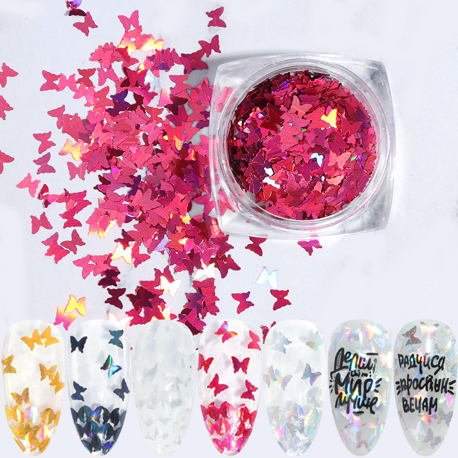 1 Box Butterfly Holographic Nail Sequins Glitter White Flakes Nail Art Decorations Chrome Thin Slices Powder Manicure TRHD01-05