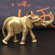 Antique Bronze Minature Elephant Figurines Tea Pet Table Ornament Decorations Solid Copper Animal Crafts Home Decor